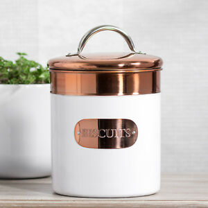 2 Litre White & Copper Storage Cookie Jar Biscuit Tin Barrel Container Rose Gold