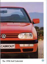 VW VOLKSWAGEN GOLF CABRIOLET 1.8 75bhp 1.8 90bhp AVANTEGARDE CAR BROCHURE 1998