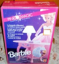 PLAY SET VINTAGE BARBIE ANNI 90 PINK MAGIC-SCRIVANIA TELEFONO LAMPADA PHONE DESK