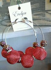 "New 3"" Hoop Earrings 1"" Mesh Balls Rhinestone Spacers Silver Metal Rust Orange"
