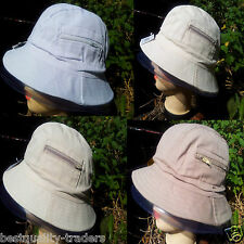 Adults Unisex Bucket Bush Boonie Summer Sun Hat 100% Cotton With Pocket Fishing