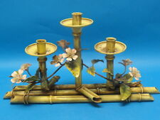 VINTAGE ITALIAN TOLE FAUX BAMBOO & FLORAL CENTERPIECE CANDLE HOLDER