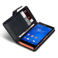 Sony Xperia Z3 Compact Executive Leather Case Card Holder Wallet Retro Black