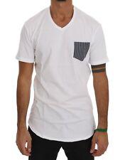 NEW $110 DANIELE ALESSANDRINI T-shirt Top White Cotton Italy V-neck Mens s. XXL