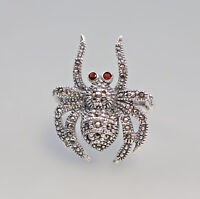 9927152 925er Silber Markasiten-Ring Spinne mit Granat Gr. 57