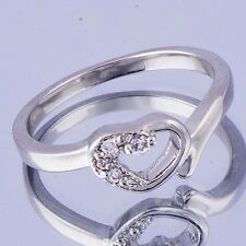 fashion jewelry  Womens Heart eternity Ring CZ White Gold Filled Size 7