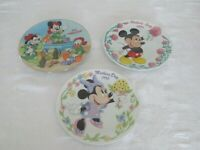 "3 WALT DISNEY COMPANY GROLIER COLLECTIBLES, LTD. DECORATOR 8-1/2"" PLATES"