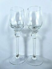 Pair Crystal Clear Cordial Aperitif Liqueur Glasses 2 Ounce Puffy Baluster Stems