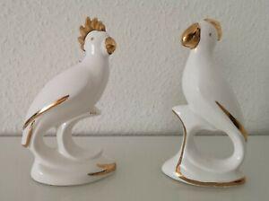 2 × Papagei Figuren, Porzellan, Goldauflage, Dekofiguren, Vintage 70er.
