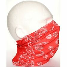 Tube Snood Scarf Red White Paisley Biker Mask under Helmet Ski Face Neck Multi U