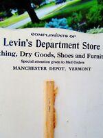 "c.1905 LEVIN'S DEPARTMENT STORE, Manchester Depot, VT Antique Ad Fan ""Dry Goods"""