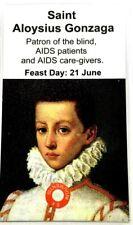 Saint Aloysius Gonzaga relic card, patron of the blind, AIDS patients,caregivers