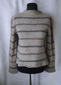 Nygardsanna Brown Striped 100% Wool Jumper Size M