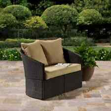 Cushioned Brown Resin Wicker Curved Outdoor Patio Love Seat Home Furniture Pool