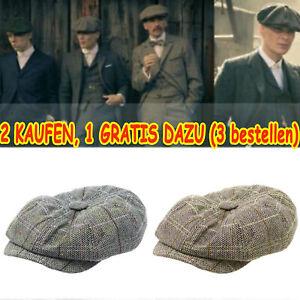 Herren Schiebermütze Hüte Gatsby Retro Golf Herringbone Bakerboy Newsboy Barett