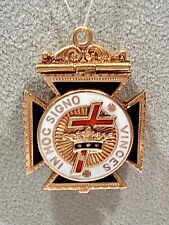 Solid 10K Yellow Gold Enameled Scottish Rite Masonic Tri-Fold Fob