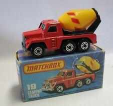 Matchbox Lesney Superfast MB19 Cement Truck green windows red str.unpainted Base