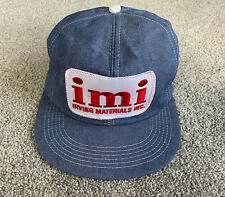 VTG IMI Irving Materials All Denim Foam Mesh Patch Trucker Hat Snapback USA Made