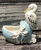 Vintage Stork Basket Bassinet Cradle Ribbon Planter Blue
