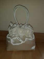 Beautiful Cream Faux Satin Rosebud Wedding Bag Bride, Bridesmaid or Flower Girl
