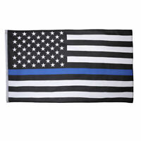 Thin Blue Line American Flag 3X5' Police Stars & Stripes Support Flag w Grommets