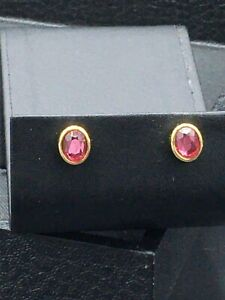"""Avon Jewelry, pierced earrings gold toned with pink """"stone""""  NOS  E - 14"""