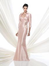 Ivonne D Mon Cheri 115D85 Gown & Bolero Blush Pink English Rose sz 6 NWT SILK
