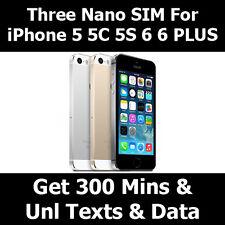 Three Nano Sim Card * Three Nano Sim Fits iPhone 5 * 3 Network Sim * 3 Nano Sim