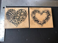 PSX Rubber Stamp Lot X2 Botanical Hearts 1990's Retired Large