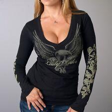 Womens Long Sleeve Soft T-shirt 100% Cotton, New Eagle, Biker, Motorcycle