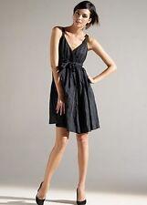 Eileen Fisher NEW Steel Satin BLACK Sleeveless Surplice Swing Dress 10 $318