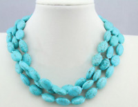 New 13x18mm Blue Turkey Turquoise Oval Gemstone Necklace 36 Inch