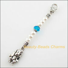 Fashion 101mm KeyChain Clasps Tibetan Silver Glass Crystal Dog Pendants