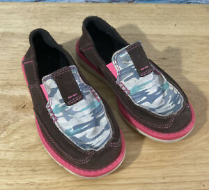 Girls ARIAT Shoes Size 10C Pink White Brown Slip On