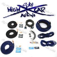 OFC 4 Ga AWG Amp Kit and 4 Gauge AWG Big 3 Upgrade Blue Black Sky High Car Audio