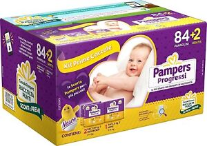 Pampers Kit Prime Coccole 86 Pannolini Taglia 1 (2-5 kg) e Taglia 2 (3-6 kg)