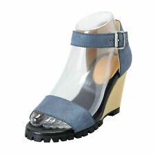 Maison Margiela Mm6 Mujer Cuero Tobillo Correa Sandalias Cuña Zapatos Eu 6 It 37