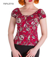 HELL BUNNY Shirt Gypsy Top Sugar SKULL LOVE Flowers Red All Sizes