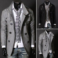 Men Autumn Winter Slim Coat  Stylish Warm Jacket Double-breasted Trench Outwear