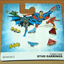 DC Comics Batman Wonder Woman Superman Logo Stud Earrings Jewelry 3 PAIR SET