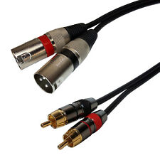3ft Pro Audio Dual Xlr Male to 2-Rca Male Stereo Plug Shielded Patch Cable Cord