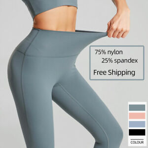 Women's High Waist Yoga Pants Nylon Leggings Full Length Waistband Stretch Flare