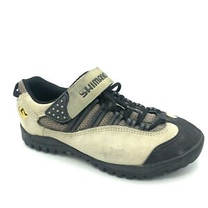 Shimano Womens Leather Cycling Shoes Lace Up Hook And Loop 5 US 38 EUR