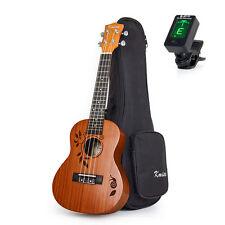 23 Inch Concert Ukulele Ukelele Acoustic Hawaiian Guitar Sapele W/Gig Bag Tuner
