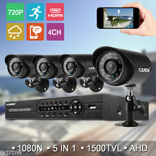 4CH 1080N AHD CCTV DVR 1500TVL Outdoor 720P Night Vision Security Camera System