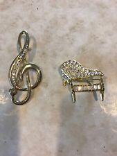 Pins Brooches; Treble Clef,Grand Piano,Vtg? 2 Music Themed Gold Tone Rhinestone