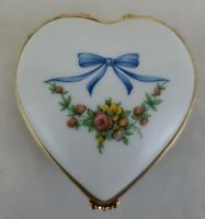 Vintage Limoges France Dubarry Hand Painted Porcelain Heart Box w/ Perfume