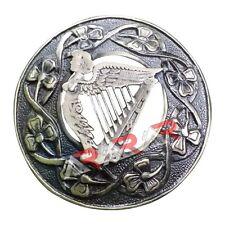 "Fly Plaid Kilt Brooch Irish Harp Antique Finish Unisex Adult Pin Jewelry 3""(7cm)"
