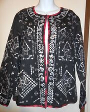 Notations Ladies Dressy Embroidered Jacket Black & Silver Large (L) NWT