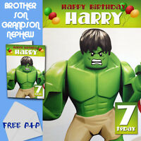 THE AVENGERS - HULK - PERSONALISED Birthday Card Son Brother Nephew Grandson